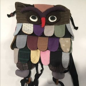 Owl Patchwork Backpack Fabric Feathers Drawstring